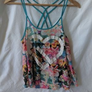Bright and fun, flowy, strappy, cropped tank
